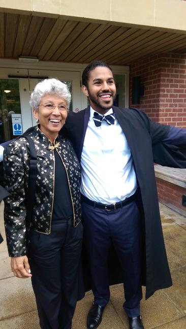 American in Brittain, Cambridge Univ. Graduation with his favorite Aunt